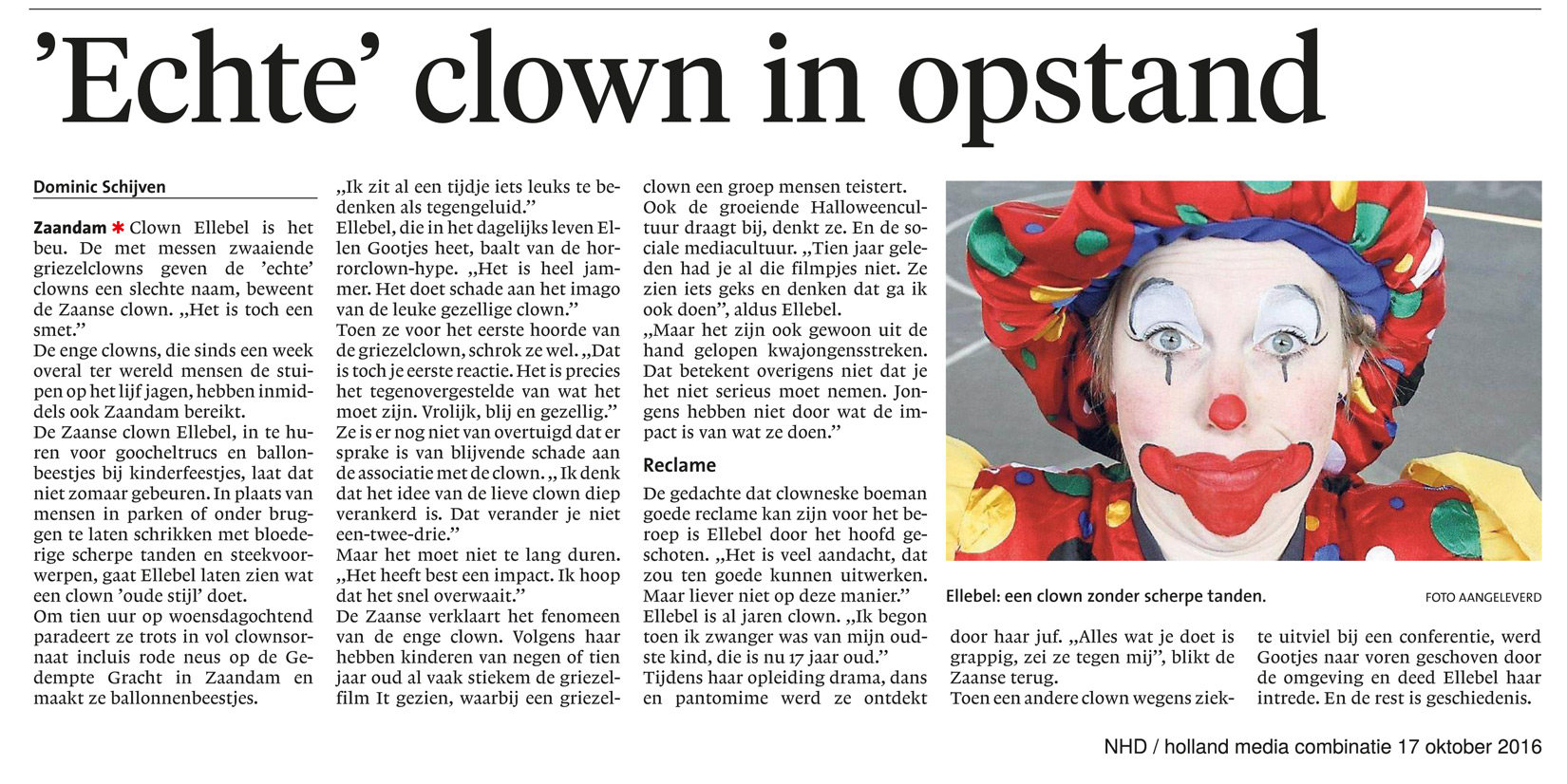 echte clown in opstand
